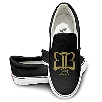 PTCY Black Veil Bride Skate Unisex Flat Canvas Shoes Sneaker Black