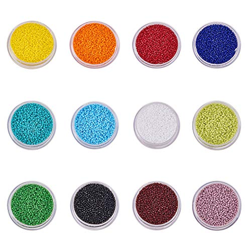 BENECREAT About 135000 Pcs 15/0 MGB Japanese Glass Seed Beads Opaque Color Round Rocailles Seed Beads for Jewelry Making - Hole Size 0.5mm, 12 Color