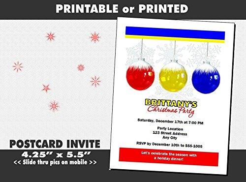 Printable Holiday Ornaments (Snowflake Ornament Holiday Party Invitation, Printable or Printed)