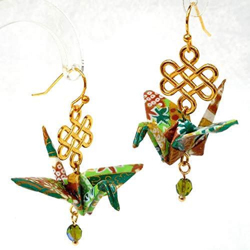 Paper Origami Good Luck Crane Earrings with Celtic Infinity Knot, Greens and Cinnamon, Gift for Her
