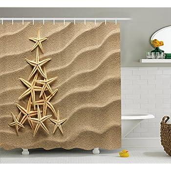 Ambesonne Starfish Decor Shower Curtain Christmas Tree From Shells On Sand Maritime Summer Coast Holiday