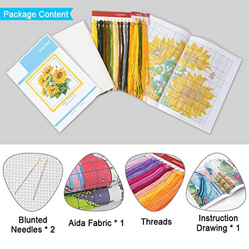 Stamped Cross Stitch Kits Needlepoint Starter Kit Preprinted Embroidery for Adult Beginners and Kids, Great for Birthday Gift - 11CT 12.6