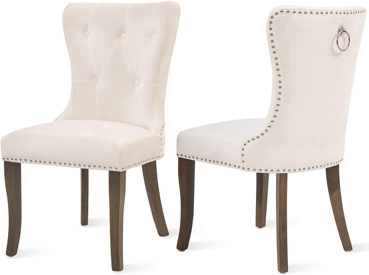 COZYWELL Dining Chair Set of 2, Upholstered Parson Chair Accent Chair Button Tufted Armless Chair with Nailhead Trim and Back Ring Pull Velvet White
