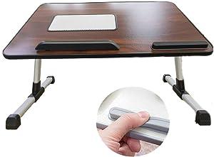 HOSL Adjustable Laptop Shelf Tablet Computer Desk Laptop Stand Foldable Notebook Table Shelf Portable Reading Table Homework Desk Dinning Table (Wood, No Fan)