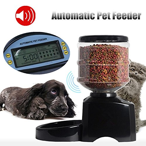 5.5L Automatic Pet Dog Cat Feeder Food Portion Dish Bowl Dispenser LCD Display