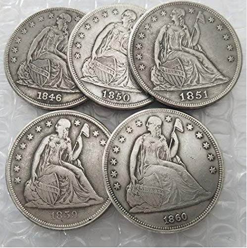 Rare Antique United States Full Set 1846-1860 5pcs Seated Liberty Silver Color Dollar Coin