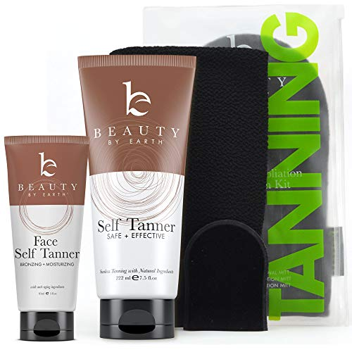 Self Tanner Bundle with Applicator – Tanning Lotion for Body & Face with Tanning Mitts, Sunless Tanner for Face & Self…