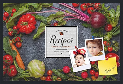 PinPix decorative pin cork bulletin board made from canvas, Recipe Board with Dark Vegetables 36x24 Inches (Completed Size) and framed in Satin Black (PinPix-Group-36) by PinPix