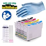 INKUTEN Easy-to-refill Cartridges for 252 WF-3620, WF-3640, WF-7110, WF-7610, WF-7620 #252 With Resettable Chips + Syrenges + Glove