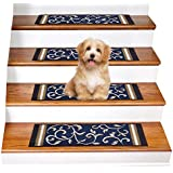 """Gloria Rug Skid-Resistant Indoor/Outdoor Rubber Backing Gripper Non-Slip Carpet Stair Treads-Machine Washable Stair Mat Area Rug (SET OF 7), 8.5"""" x 26"""", Navy Blue"""