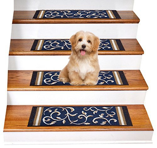 Carpet Set Tiles (Gloria Rug Skid-Resistant Indoor/Outdoor Rubber Backing Gripper Non-Slip Carpet Stair Treads-Machine Washable Stair Mat Area Rug (SET OF 7), 8.5