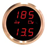 VEI Systems Dual-Display gauge: 320 deg-F water/coolant temperature and 27.5V P.O.L. Voltmeter (red/silver)
