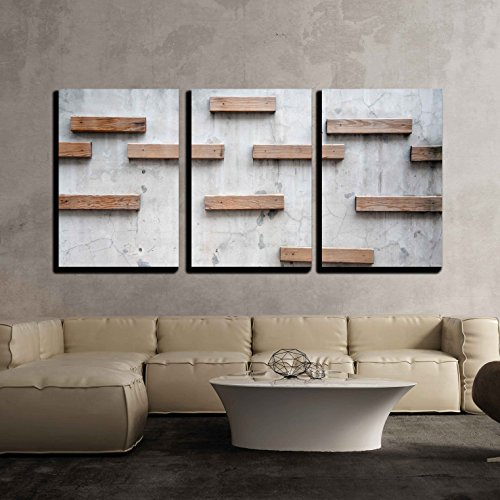 wall26 - 3 Piece Canvas Wall Art - Wood Texture with Nature Form - Modern Home Decor Stretched and Framed Ready to Hang - 24