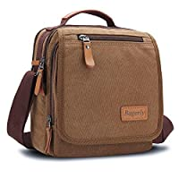 Bagerly Small Canvas Vintage Shoulder Bag Multi-Pockets Crossbody Business Messenger Bags
