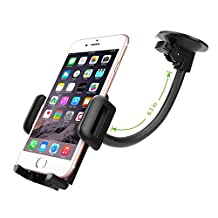 Suction Window Flexible Gooseneck Mount with Adjustable Jaws Phone Holder in your Car or Truck fits HTC One m9 with Otterbox Defender Case on it.