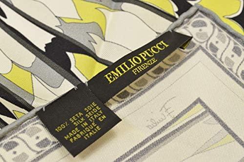 (エミリオプッチ)ポケットチーフ メンズ プッチ柄シルクポケットチーフ(サイズ32×32cm)eep19w128 イエローグリーン