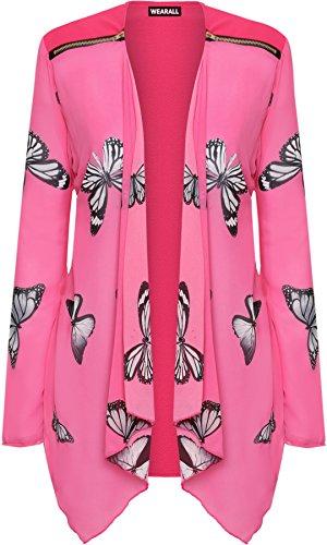 Papillon WearAll Haut Femmes Soie Pur Cardigan Longue 56 Imprimer De Plus 42 Manche Tailles Femmes Cerise Mousseline Hauts RUq0R1P