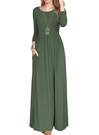 332bb5d11 Seanrui Women Autumn Solid Color Long Sleeve Casual Loose Maxi Long Dress  Pockets Army Green S