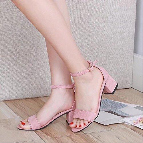 Mi Été Talon Toe Cheville Femmes Sandales HUAN Bas Strappy B Party Dames Bloc Chaussures Daim Strap Peep en vY77I0q