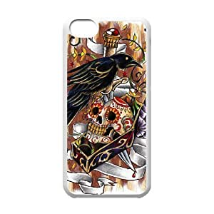 DANGDANG Artsy Skull Shell Phone for iphone5c White Cover Phone Case [Pattern-5]