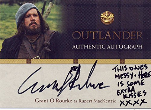 "2016 Outlander Season 1 Trading Cards Autograph Card GO Grant O'Rourke as Rupert MacKenzie""Here is some extra kisses XXXX' Inscription"