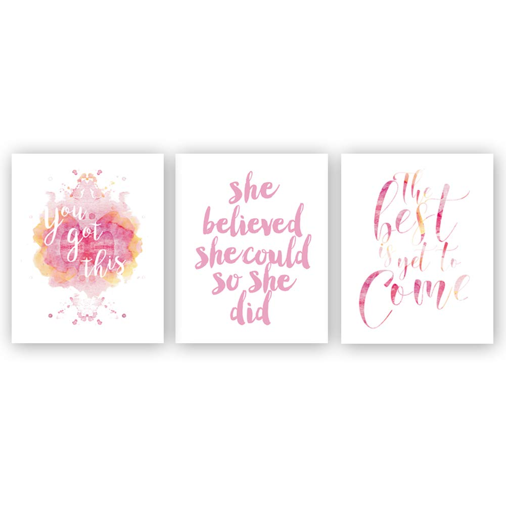 Inspirational Quote Typography Art Painting Poster,Watercolor Motivational Letterings Cardstock Art Print For Girls Women Bedroom Home Wall Decor (set of 3, 8'' x 10'' ,Unframed)