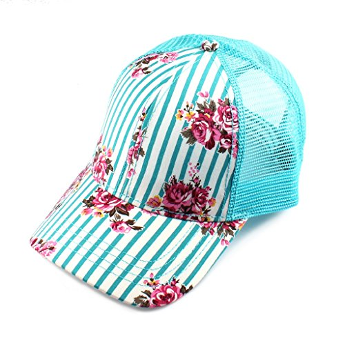 Metallic Leather Hat - H-6140-101046 Floral Trucker Hat - Pinstripe (Teal)