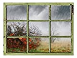 Window View Wall Mural - Heavy Rain - Vintage Style Wall Decor - Peel and Stick Adhesive Vinyl Material - 36x48 inches