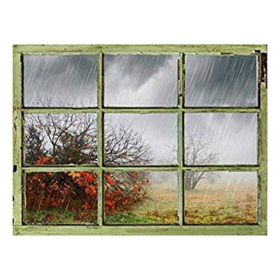 Window View Wall Mural Heavy Rain Vintage Style Wall Decor Peel and Stick Adhesive Vinyl Material, Made to Last, Marvelous Visual