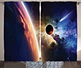 Outer Space Decor Curtains Comet Approaches Planet Scientific Facts Realities in Solar System World Scene Living Room Bedroom Decor 2 Panel Set Red Blue
