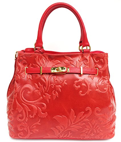 SUPERFLYBAGS Borsa in vera pelle stampa fiorata modello Praga Flower Made in Italy rosso