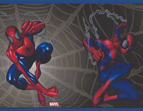 Spiderman on Web Black Marvel Comics Wallpaper Border for Kids, Roll 15' x 7''
