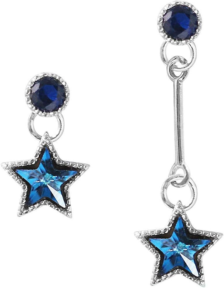 FCQCWXAM Pendientes Azure Crystal Gradient Star Cute Pentagram Straight S925 Sterling Silver Stud Pendientes Asimetría Mujeres