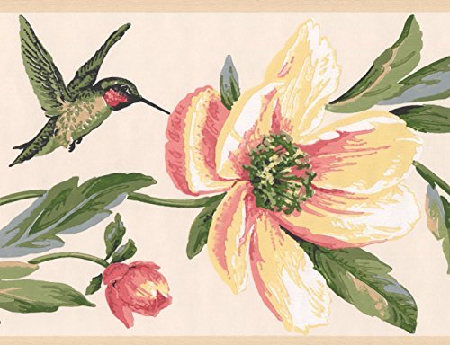 York Wallcoverings Pink Yellow Flowers Hummingbird Wallpaper Border Retro Design, Roll 15' x - Flower Retro Wallpaper
