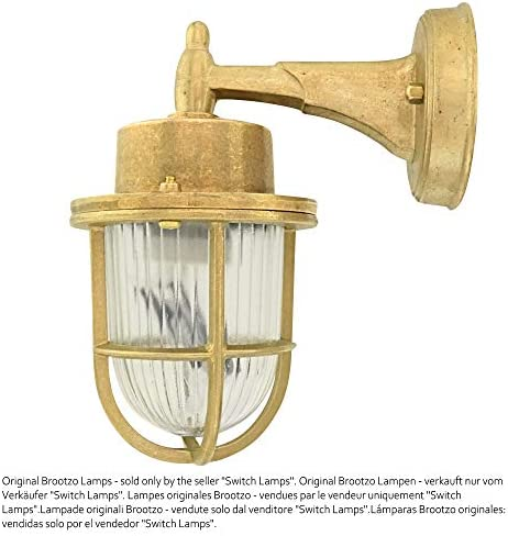 Brootzo Lyon LED 10W Schiffslampe schiffsleuchten Gitterlampe Kellerlampe feuchtlamp aus massivem Messing wasserdichte Leuchter Licht lampe rustikale Maritim Wandlampe Industrielicht