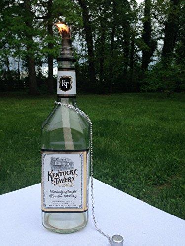 Tiki Torch - Kentucky Tavern Straight Bourbon Whiskey Bottle - Oil Lamp - One or Two - Outdoor Lighting - Garden Decor - Bourbon Decor