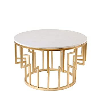 Table Basse Moderne Plateau En Marbre Blanc Cadre En Fer