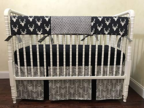 Nursery Bedding, Bumperless Baby Crib Bedding Set Sutton, Baby Boy Bedding, Teething Rail Guard Cover, Gray and Navy Deer Crib Bedding, 1-4 pieces