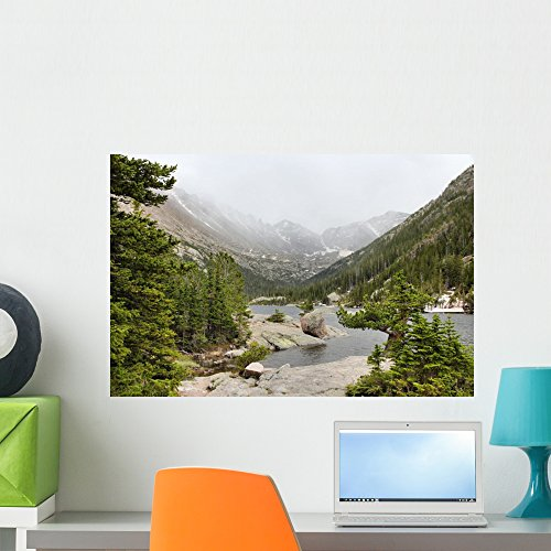 Mills Lake Rocky Mountains Wall Mural by Wallmonkeys Peel and Stick Graphic (24 in W x 16 in H) - Mills 16 Colorado