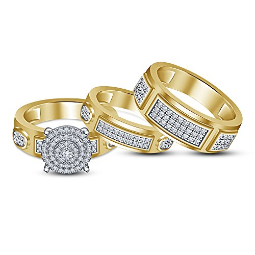 TVS-JEWELS White Cubic Zirconia 14k Gold Plated Sterling Silver Wedding Bridal Ring Set Engagement Band by TVS-JEWELS