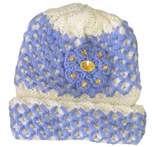 (DINY Home & Style Ladies Winter Chic Slouchy Ribbed Crochet Knit Beret Beanie Hat with Rhinestone Ornaments (Blue))