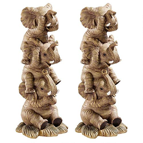 Design Toscano Hear-No, See-No, Speak-No Evil Stacked Elephants  Collectible Statue, 10 Inch, Set of Two, Polyresin, Full Color