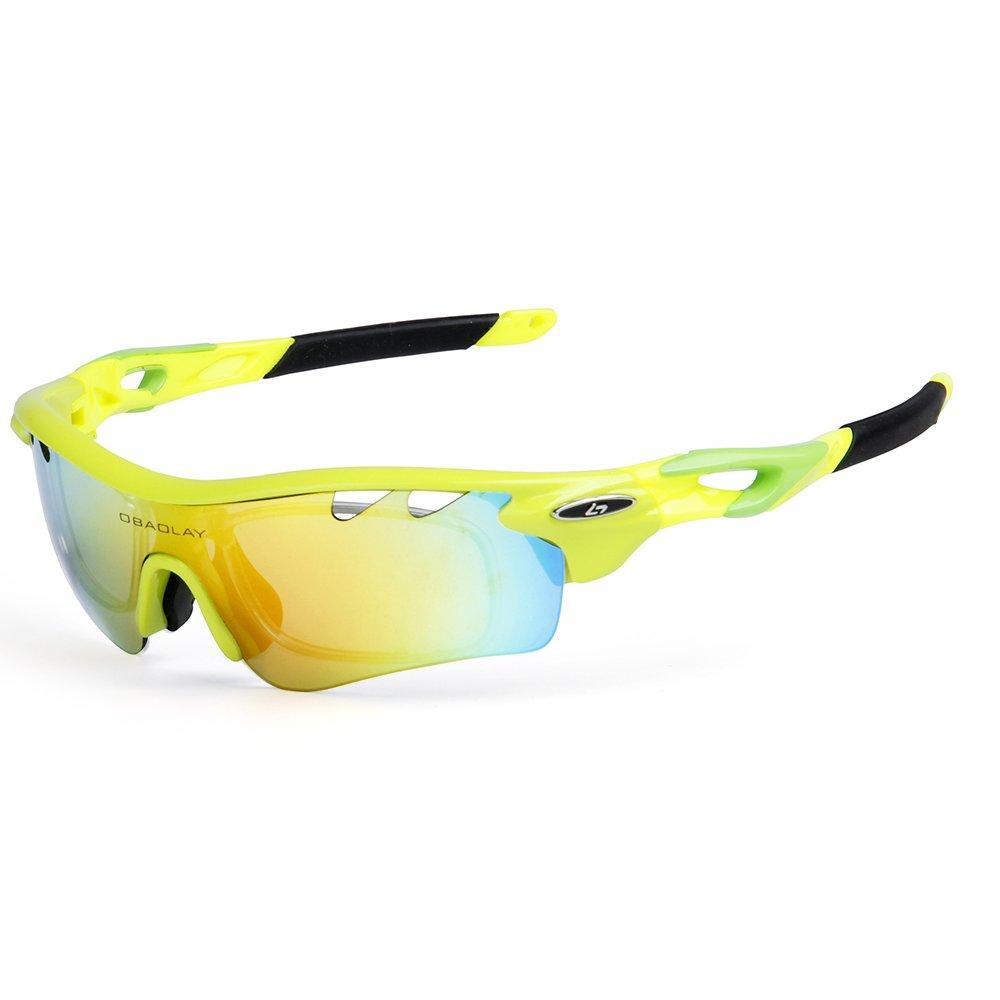 Lixada偏光サイクリングサングラスバイク自転車uv400ゴーグルスポーツ運転釣りスケート旅行アイウェアメガネ  蛍光イエロー B07CGKK1S9
