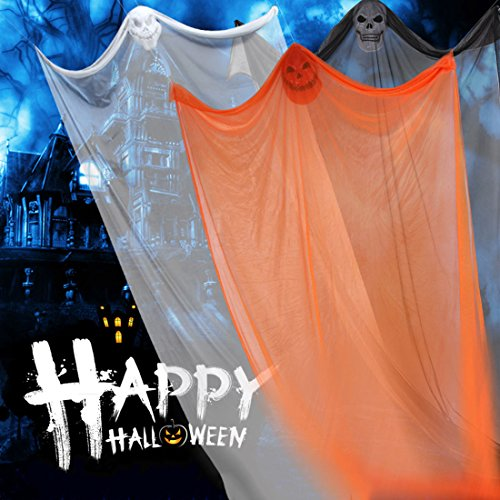 Pinji Halloween Hanging Ghost Scary Prop Skeleton Flying Ghost Decorations for Outdoor Yard Indoor Bar Party Decor Orange by Pinji (Image #4)