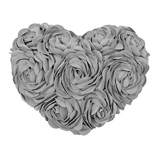JWH 3D Handmade Rose Flowers Accent Pillow Decorative Solid Suede Heart Shape Cushion Home Couch Bed Living Room Office Chair Car Decor Travel Lover Girl Gift 13 x 16 Inch Grey