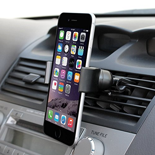 Car Mount for Air Vent 360 Degrees Stretchable, Durable, Secure Car Mount Cradle for Smartphones, iPhone 6, 6 Plus, 6S, 5, 5S, Samsung Galaxy S5, S4, S3, Note 3, and more (Black) By Foxx Electronics