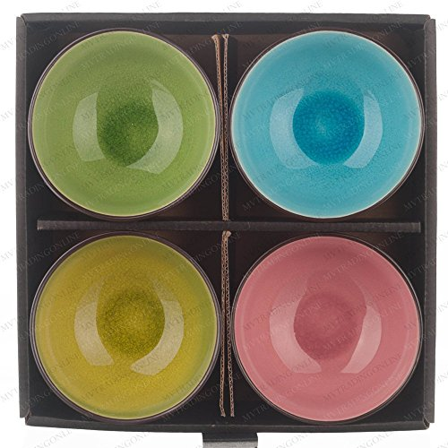 M.V. Trading NS2024 Japanese Soup Rice Bowl with Crakle Design, Color: Lime, Green, Blue, Pink, 8-Ounces, 4½-Inches, Set of 4