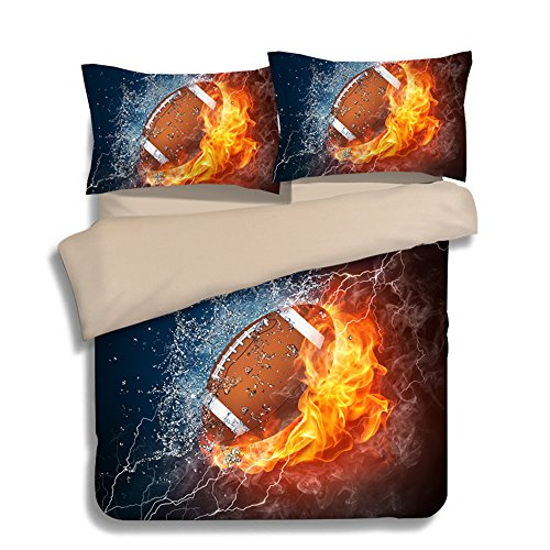 Fantastic Fire American Football Microfiber 3pc 80''x90'' Bedding Quilt Duvet Cover Sets 2 Pillow Cases Full Size by DIY Duvetcover