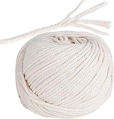 95m Cuerda Cordel de Algodón Hilo Macramé, 4 mm de diámetro, para ...