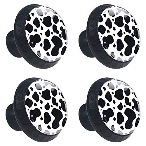 LORVIES Black and White Cow Pattern Drawer Knob Pull Handle Crystal Glass Circle Shape Cabinet Drawer Pulls Cupboard Knobs with Screws for Home Office Cabinet Cupboard (4 -